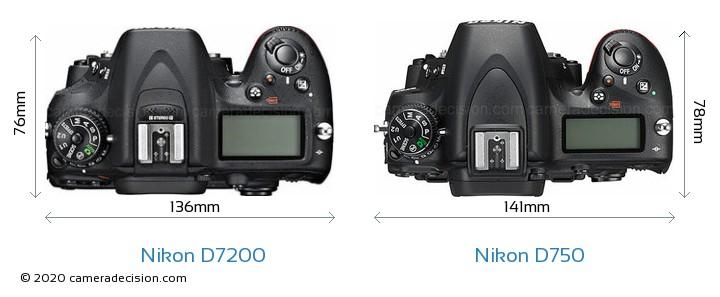Nikon D7200 vs Nikon D750 Camera Size Comparison - Top View