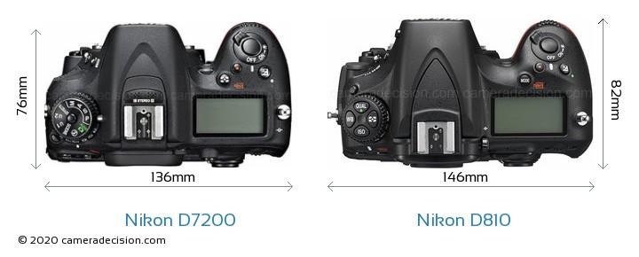 Nikon D7200 vs Nikon D810 Camera Size Comparison - Top View