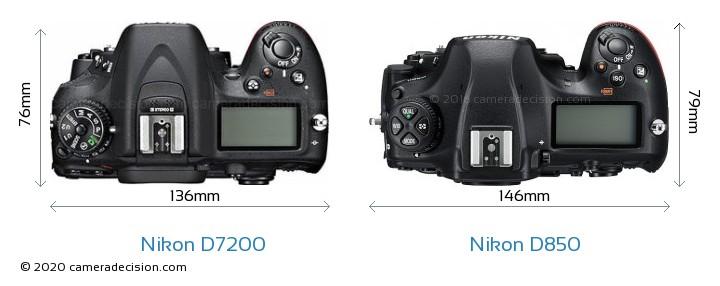 Nikon D7200 vs Nikon D850 Camera Size Comparison - Top View
