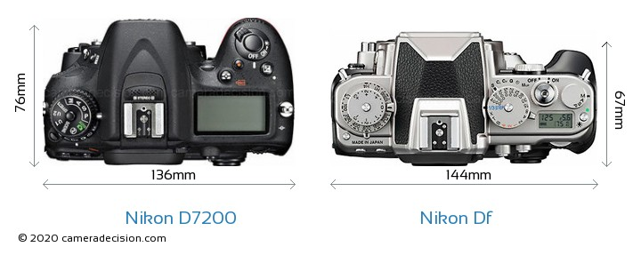 Nikon D7200 vs Nikon Df Camera Size Comparison - Top View