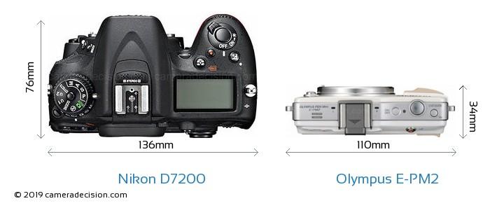 Nikon D7200 vs Olympus E-PM2 Camera Size Comparison - Top View