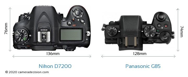 Nikon D7200 vs Panasonic G85 Camera Size Comparison - Top View