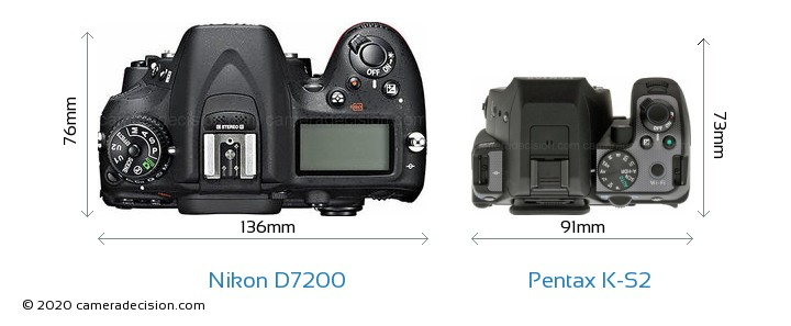 Nikon D7200 vs Pentax K-S2 Camera Size Comparison - Top View