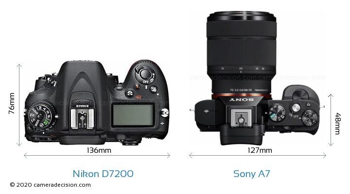 Nikon D7200 vs Sony A7 Camera Size Comparison - Top View