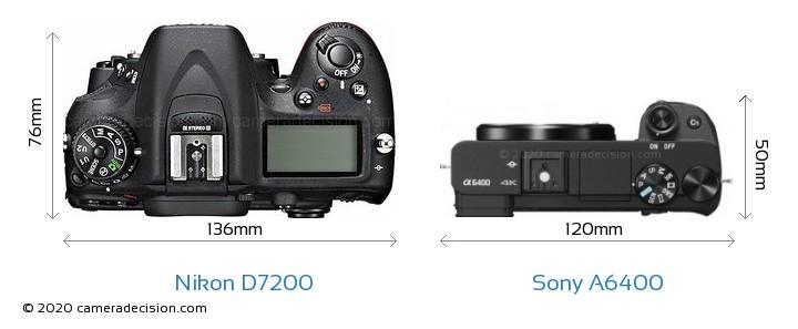 Nikon D7200 vs Sony A6400 Camera Size Comparison - Top View