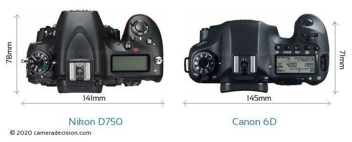 Nikon D750 vs Canon 6D Camera Size Comparison - Top View
