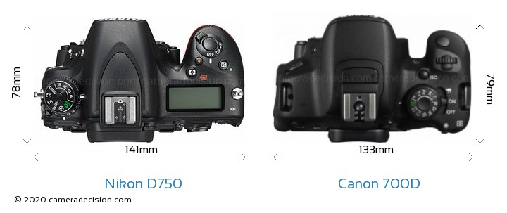 Nikon D750 vs Canon 700D Camera Size Comparison - Top View