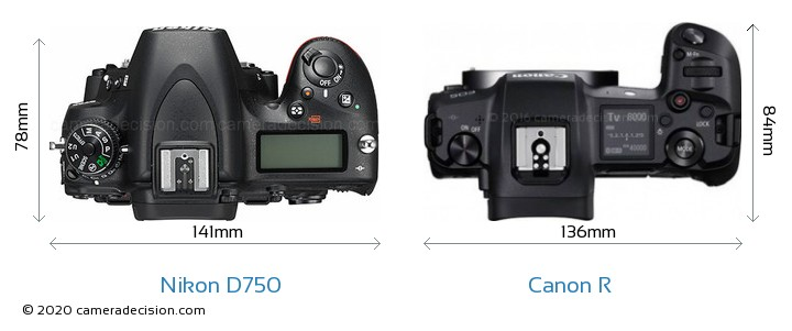 Nikon D750 vs Canon R Camera Size Comparison - Top View