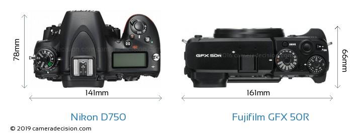 Nikon D750 vs Fujifilm GFX 50R Camera Size Comparison - Top View