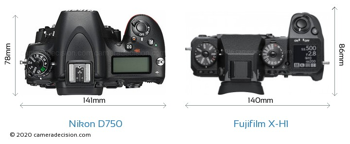 Nikon D750 vs Fujifilm X-H1 Camera Size Comparison - Top View