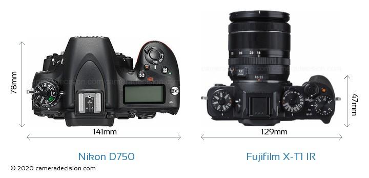 Nikon D750 vs Fujifilm X-T1 IR Camera Size Comparison - Top View