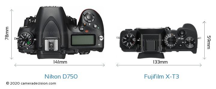 Nikon D750 vs Fujifilm X-T3 Camera Size Comparison - Top View