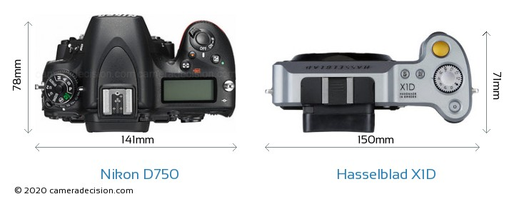 Nikon D750 vs Hasselblad X1D Camera Size Comparison - Top View