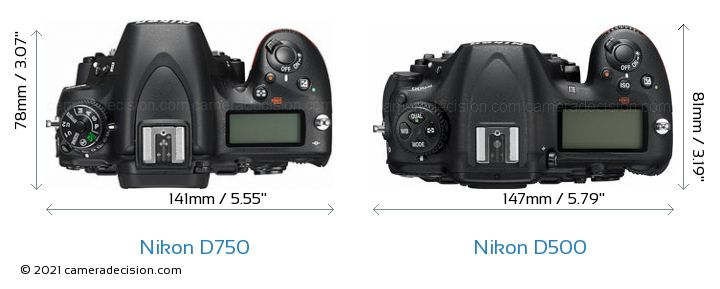 Nikon D750 vs Nikon D500 Camera Size Comparison - Top View