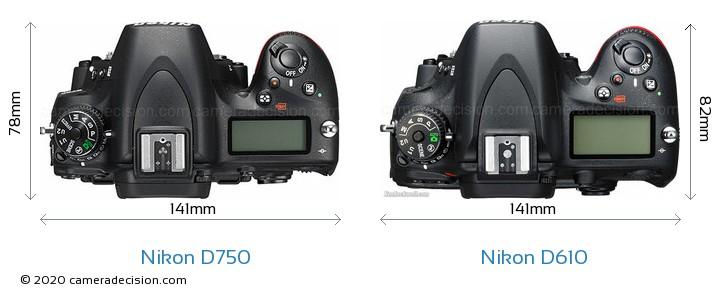 Nikon D750 vs Nikon D610 Camera Size Comparison - Top View