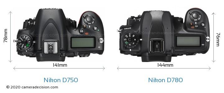 Nikon D750 vs Nikon D780 Camera Size Comparison - Top View