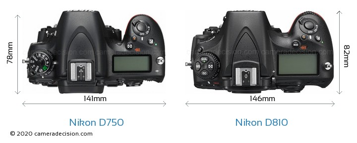 Nikon D750 vs Nikon D810 Camera Size Comparison - Top View