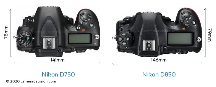 Nikon D750 vs Nikon D850 Camera Size Comparison - Top View