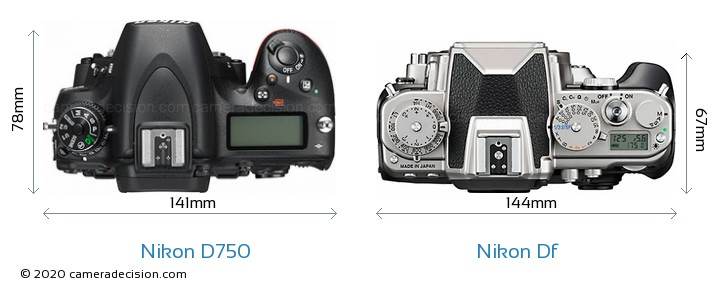 Nikon D750 vs Nikon Df Camera Size Comparison - Top View