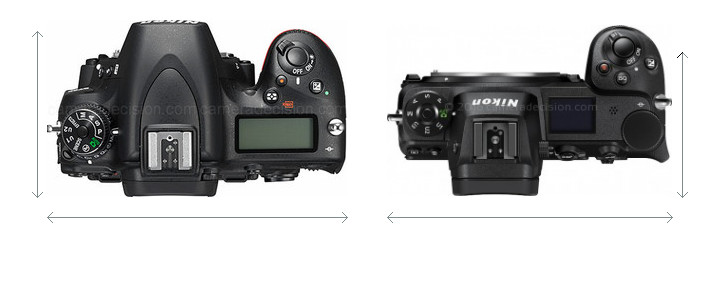 Nikon D750 vs Nikon Z 6 Camera Size Comparison - Top View