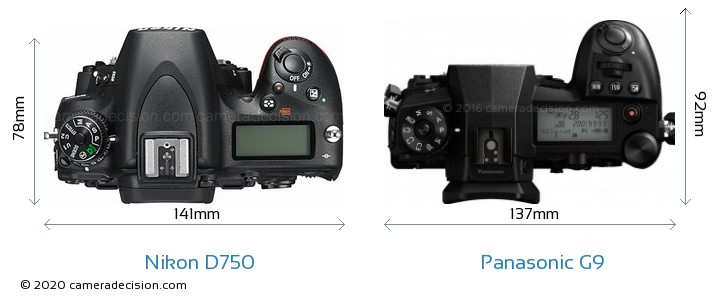 Nikon D750 vs Panasonic G9 Camera Size Comparison - Top View