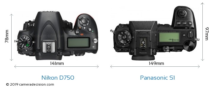 Nikon D750 vs Panasonic S1 Camera Size Comparison - Top View