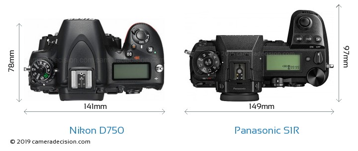 Nikon D750 vs Panasonic S1R Camera Size Comparison - Top View