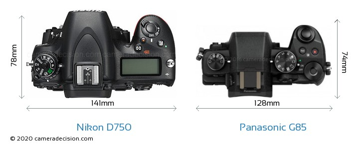 Nikon D750 vs Panasonic G85 Camera Size Comparison - Top View