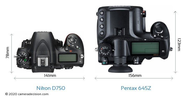 Nikon D750 vs Pentax 645Z Camera Size Comparison - Top View