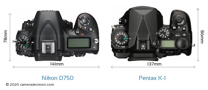 Nikon D750 vs Pentax K-1 Camera Size Comparison - Top View