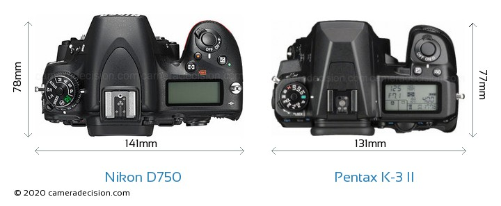 Nikon D750 vs Pentax K-3 II Camera Size Comparison - Top View