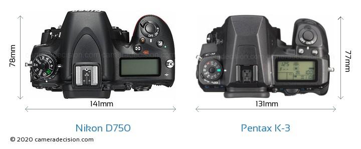 Nikon D750 vs Pentax K-3 Camera Size Comparison - Top View