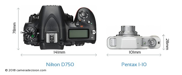 Nikon D750 vs Pentax I-10 Camera Size Comparison - Top View