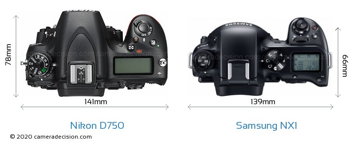 Nikon D750 vs Samsung NX1 Camera Size Comparison - Top View