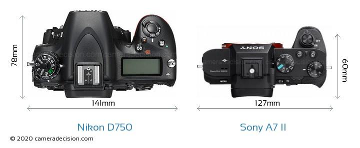 Nikon D750 vs Sony A7 II Camera Size Comparison - Top View