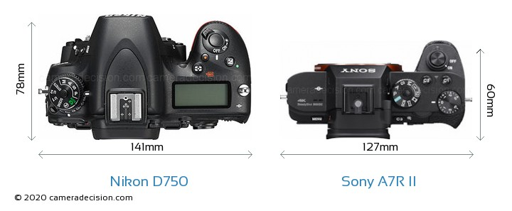 Nikon D750 vs Sony A7R II Camera Size Comparison - Top View