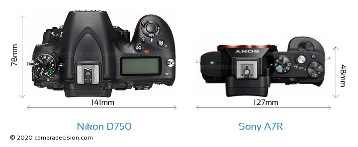 Nikon D750 vs Sony A7R Camera Size Comparison - Top View