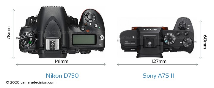 Nikon D750 vs Sony A7S II Camera Size Comparison - Top View