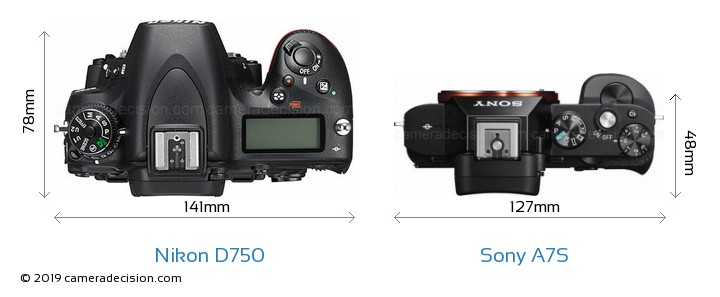 Nikon D750 vs Sony A7S Camera Size Comparison - Top View