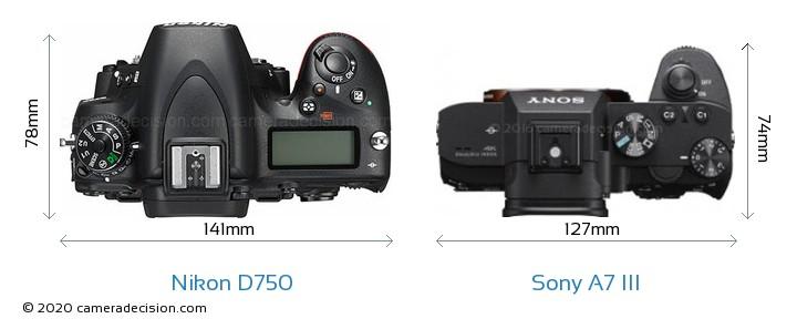 Nikon D750 vs Sony A7 III Camera Size Comparison - Top View