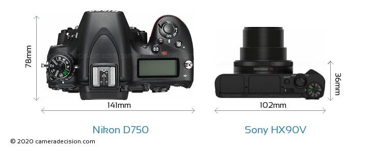 Nikon D750 vs Sony HX90V Camera Size Comparison - Top View