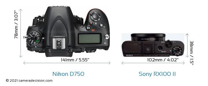Nikon D750 vs Sony RX100 II Camera Size Comparison - Top View