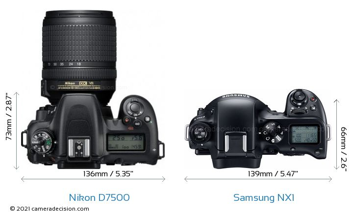 Nikon D7500 vs Samsung NX1 Camera Size Comparison - Top View