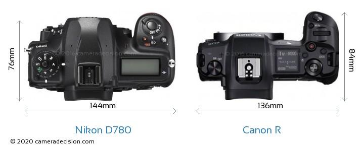 Nikon D780 vs Canon R Camera Size Comparison - Top View