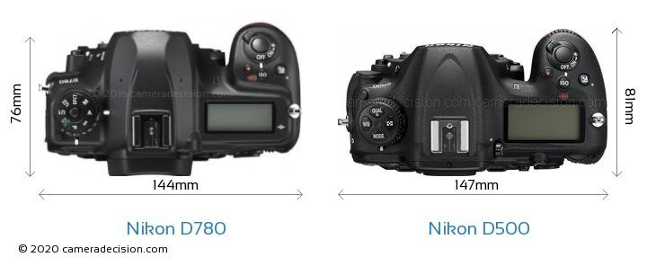 Nikon D780 vs Nikon D500 Camera Size Comparison - Top View