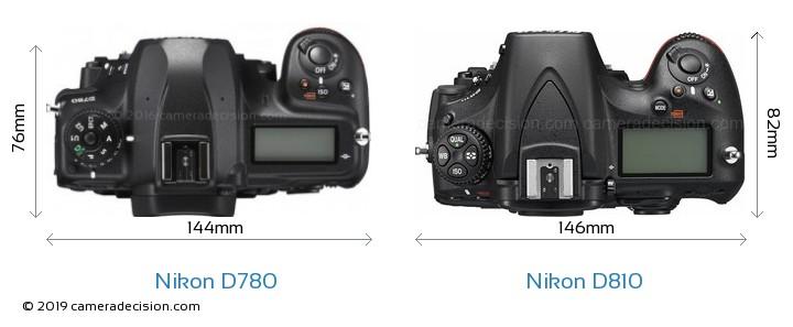 Nikon D780 vs Nikon D810 Camera Size Comparison - Top View