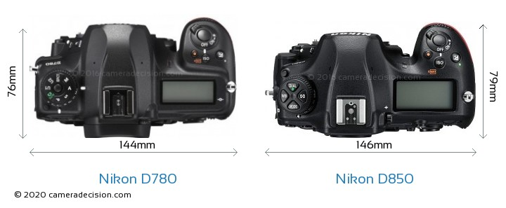 Nikon D780 vs Nikon D850 Camera Size Comparison - Top View