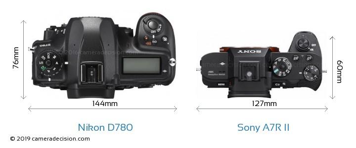 Nikon D780 vs Sony A7R II Camera Size Comparison - Top View