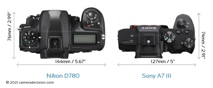 Nikon D780 vs Sony A7 III Camera Size Comparison - Top View