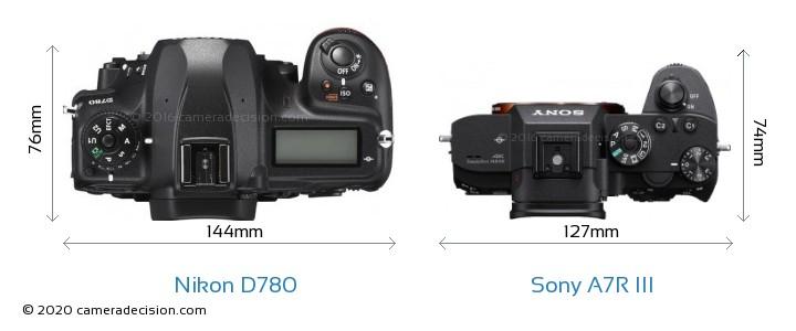 Nikon D780 vs Sony A7R III Camera Size Comparison - Top View